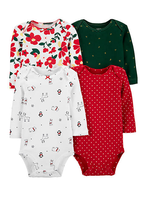 Carter's® Baby Girls 4 Pack Holiday Original Bodysuits