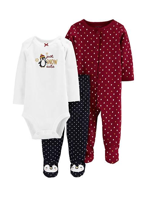 Carter's® Baby Girls 3 Piece Penguin Bodysuit and