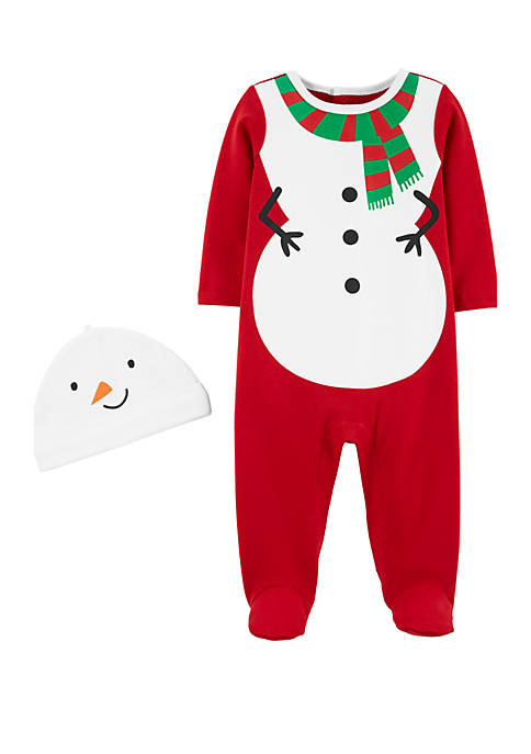 Carter's® Baby Boys 2 Piece Snowman Coveralls and