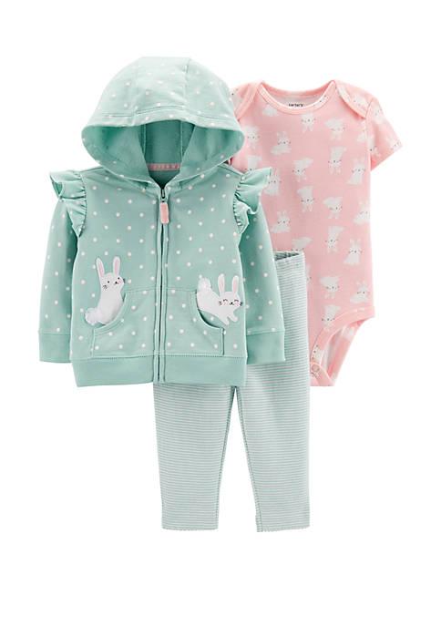 Carter's® Baby Girls Bunny 3 Piece Cardigan Set