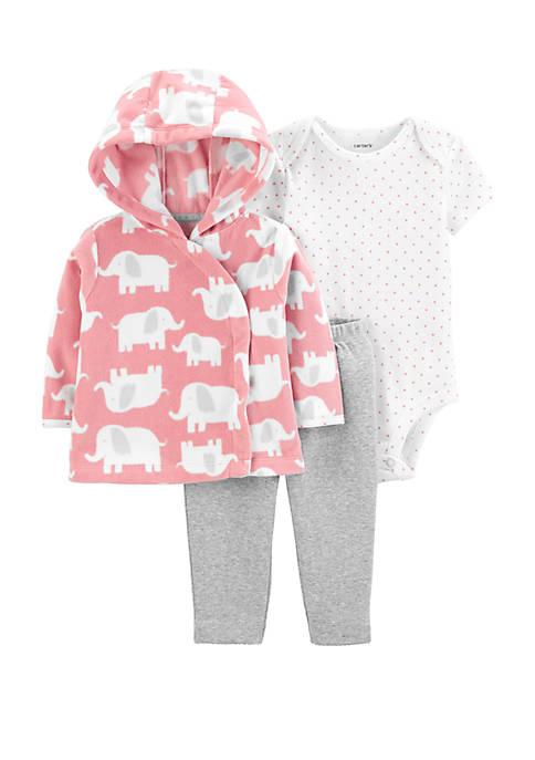 Carter's® Baby Girls 3 Piece Elephant Little Cardigan