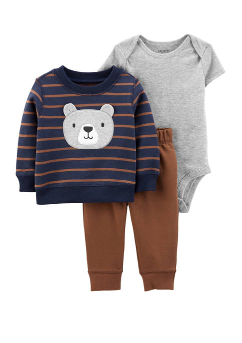Carter's® Baby Boys 3 Piece Bear Fleece Sweatshirt