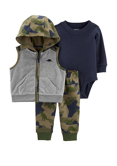 Baby Boys 3 Piece Camo Little Vest Set