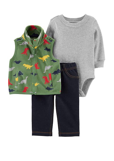 Baby Boys 3 Piece Dinosaur Little Vest Set
