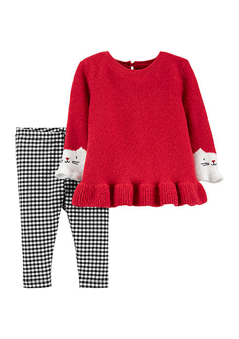 Baby Girls 2 Piece Cat Sweater and Gingham Leggings Set
