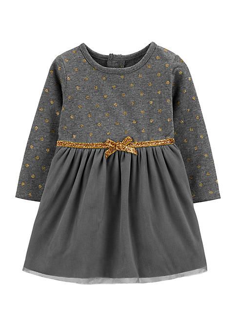 Carter's® Toddler Girls Glitter Polka Dot Holiday Dress