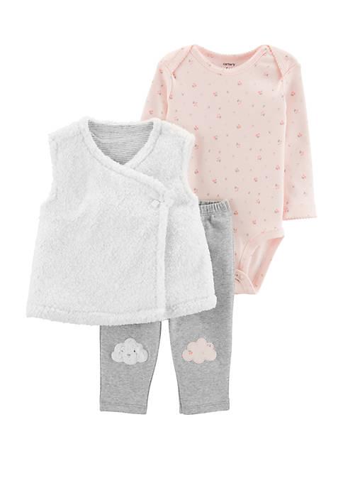 Carter's® Baby Girls 3 Piece Cloud Little Vest