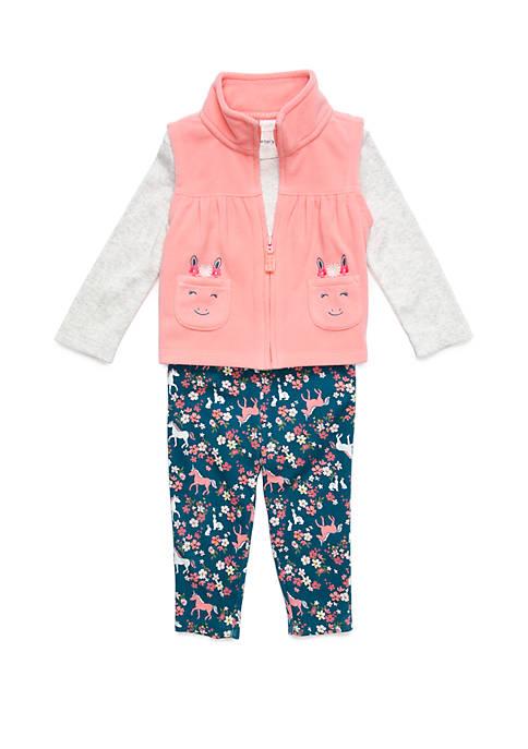 Carter's® Baby Girls 3 Piece Unicorn Vest Set