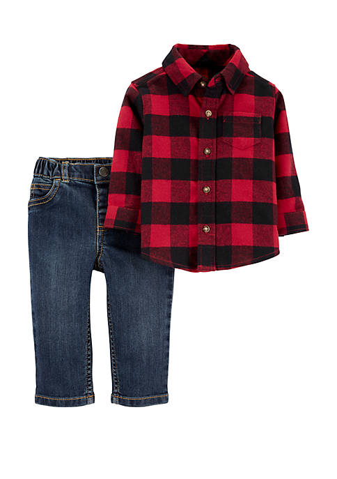 Baby Boys 2 Piece Buffalo Check Button Front Shirt and Denim Pant Set