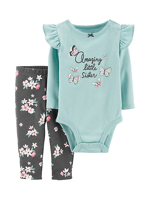 Baby Girls 2 Piece Butterfly Bodysuit and Pants Set