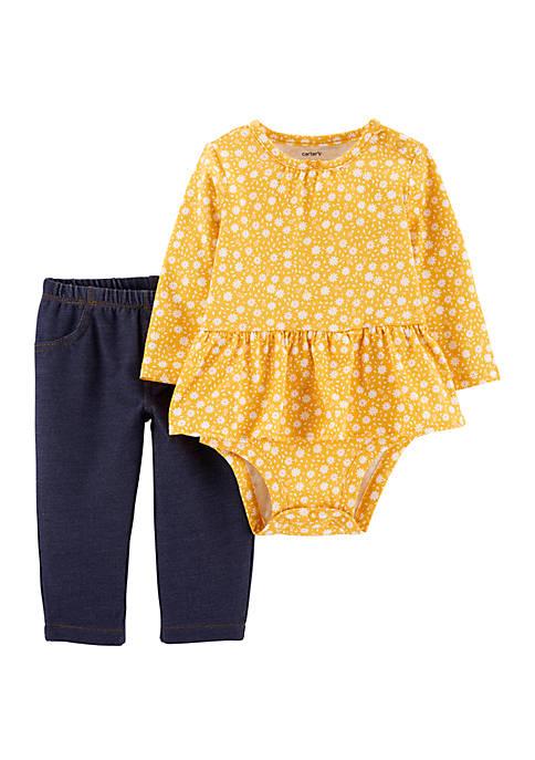 Carter's® Baby Girls 2 Piece Floral Peplum Bodysuit