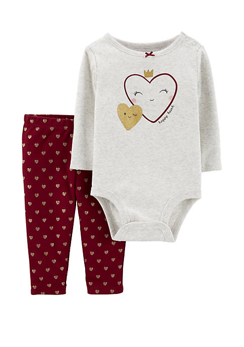 Carter's® Baby Girls 2-Piece Hearts Bodysuit and Pants