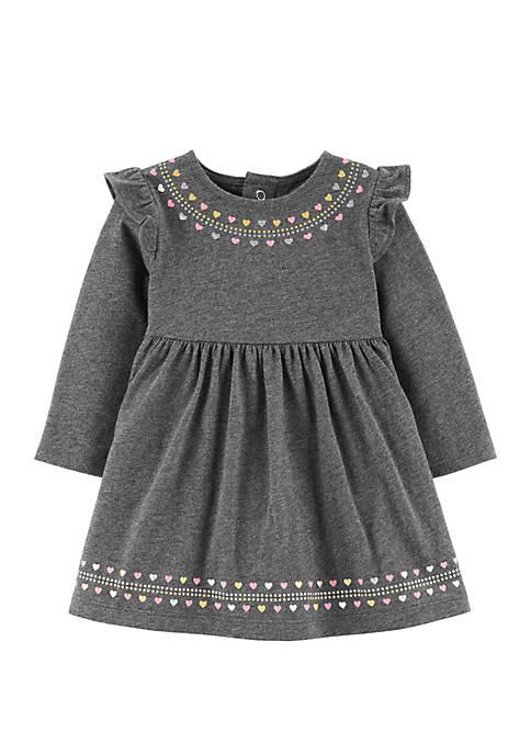 Baby Girls Glitter Heart Jersey Dress