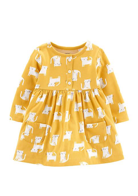 Carter's® Baby Girls Yellow Cat Dress