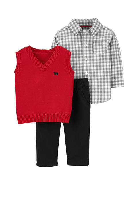 Carter's® Baby Boys 3-Piece Button Front & Sweater