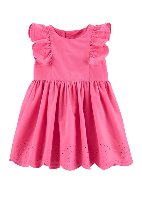 Carter's® Baby Girls Embroidered Floral Poplin Dress Set