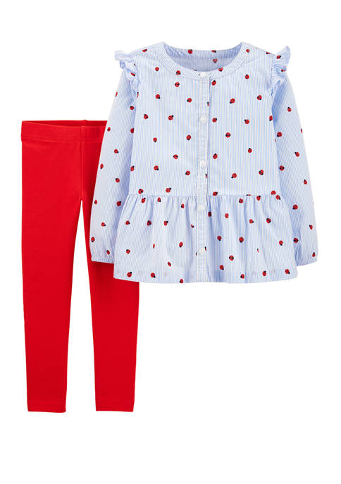 Carter's® Baby Girls 2 Piece Ladybug Button Front