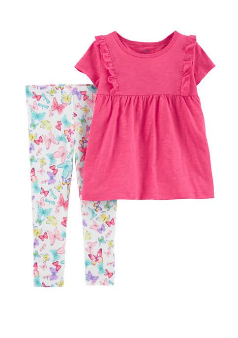 Carter's® Baby Girls 2 Piece Ruffle Slub Jersey