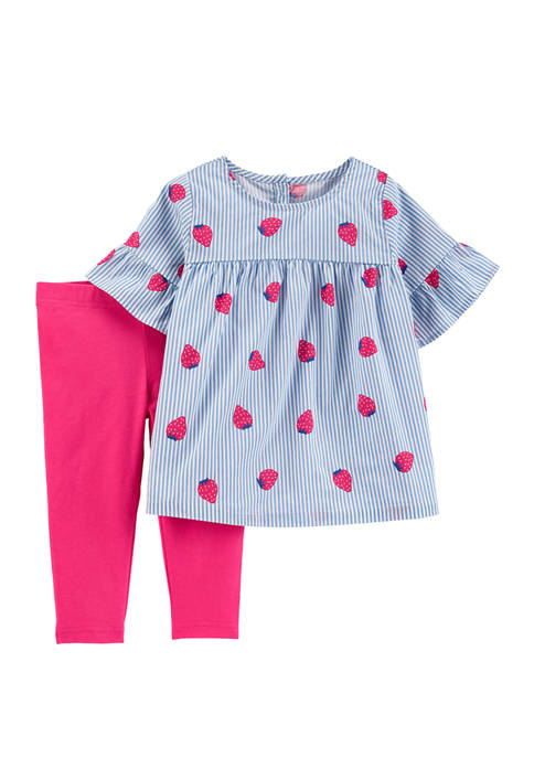 Carter's® Baby Girls 2 Piece Striped Strawberry Top