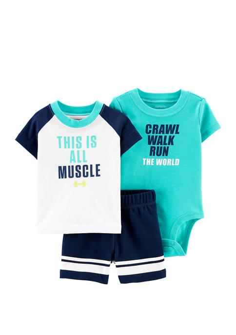 Carter's® Baby Boys 3 Piece Muscle Little Short