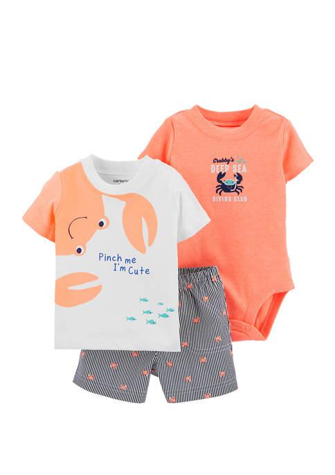 Carter's® Baby Boys 3 Piece Crab Little Shorts
