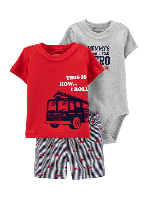 Carter's® Baby Boys 3-Piece Firetruck Little Short Set