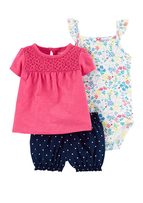 Carter's® Baby Girls 3 Piece Floral Little Shorts