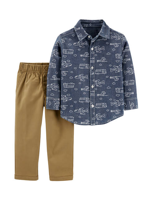 Carter's® Baby Boys 2 Piece Chambray Button Front