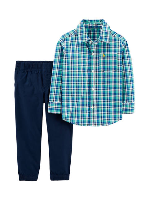 Carter's® Baby Boys 2 Piece Plaid Button Front