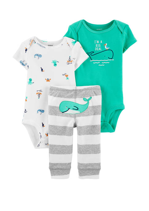 Baby Boys 3 Piece Whale Little Character Set