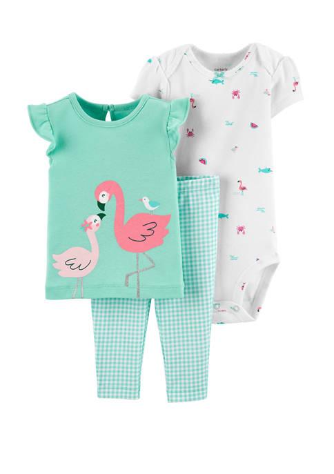 Carter's® Baby Girls 3 Piece Flamingo T-Shirt and