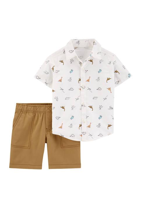 Carter's® Baby Boys 2 Piece Dinosaur Button Front