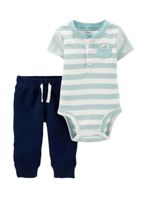 Carter's® Baby Boys 2 Piece Striped Henley Bodysuit