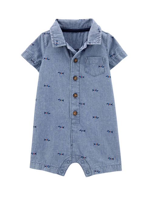 Carter's® Baby Boys Dog Chambray Romper