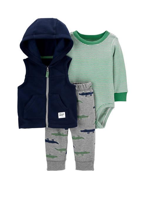 Carter's® Baby Boys 3-Piece Alligator Little Vest Set