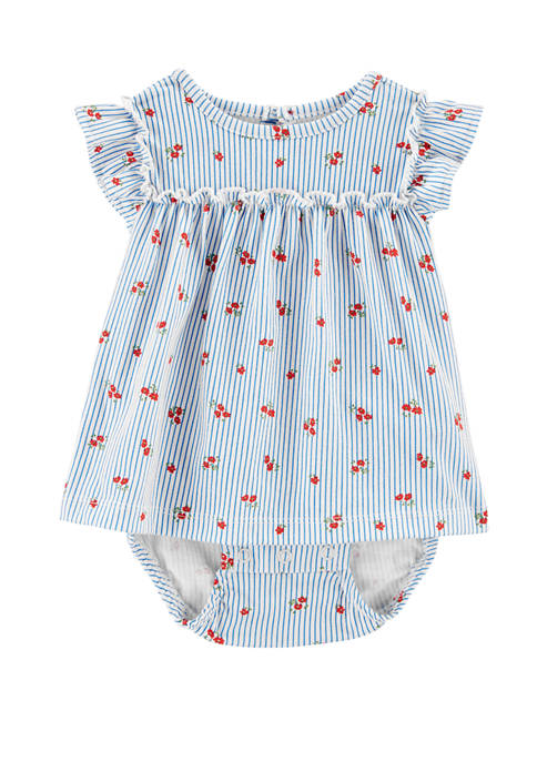 Carter's® Baby Girls Striped Floral Jersey Sunsuit