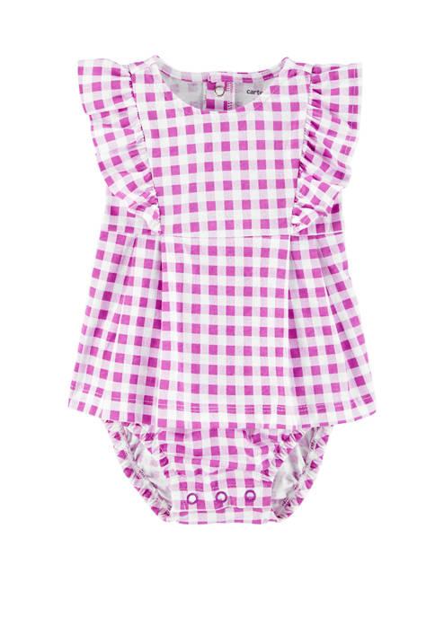 Carter's® Baby Girls Ruffle Gingham Jersey Sunsuit