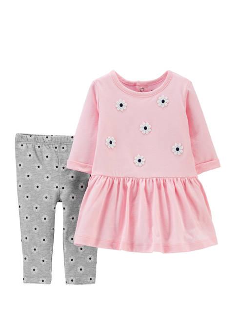 Carter's® Baby Girls 2 Piece Floral Jersey Dress