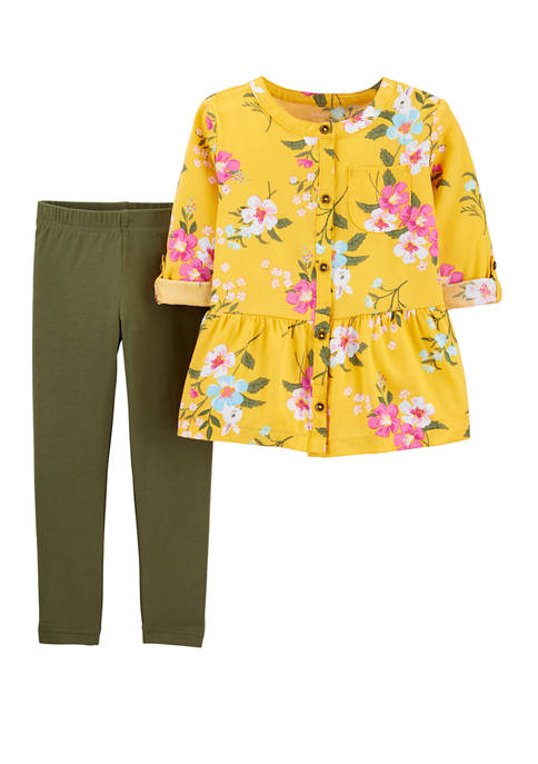 Carter's® Baby Girls Floral Sateen Top and Leggings