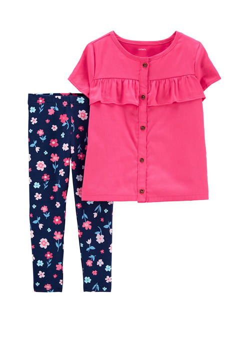 Carter's® Baby Girls 2 Piece Button-Front Sateen Top