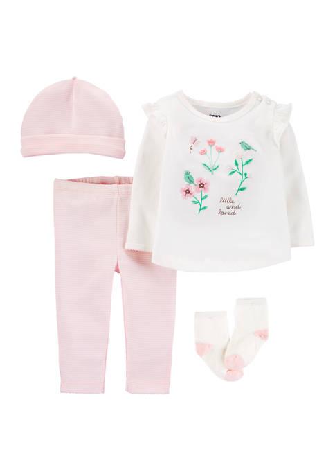 Baby Girls 4 Piece Floral Take-Me-Home Set