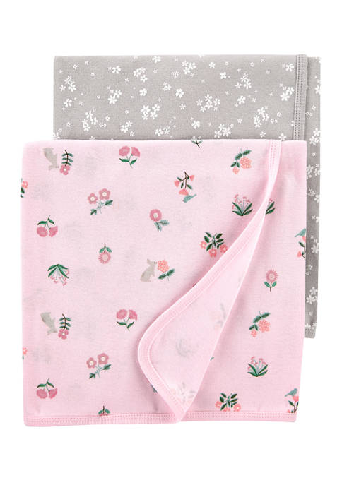 Baby Girls 2 Pack Floral Baby Blankets