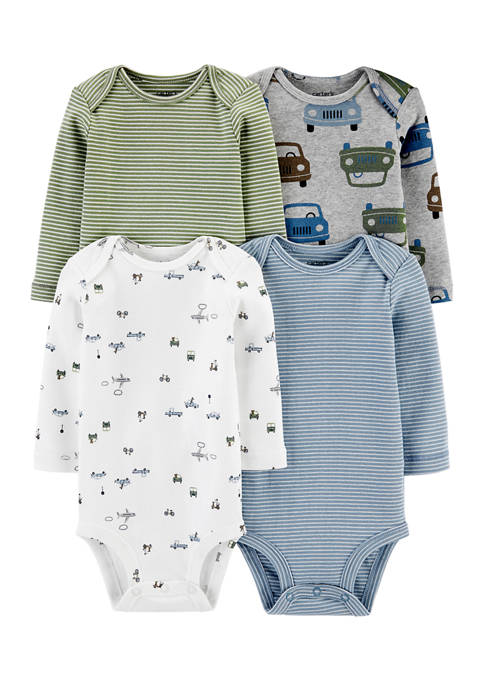 Carter's® Baby Boys 4 Pack Long Sleeve Bodysuits