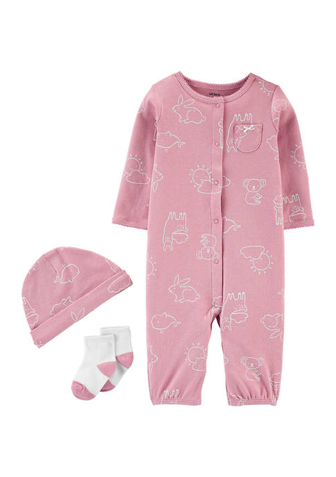 Carter's® Baby Girls 3-Piece Take-Me-Home Converter Gown Set