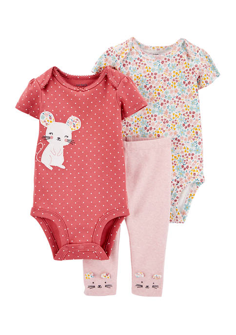 Carter's® Baby Girls 3 Piece Mouse Little Character