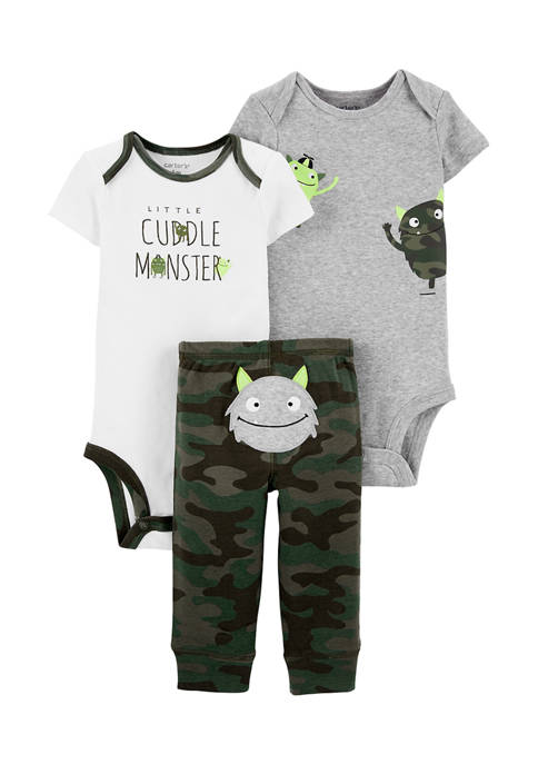 Baby Boys 3-Piece Monster Little Character Set