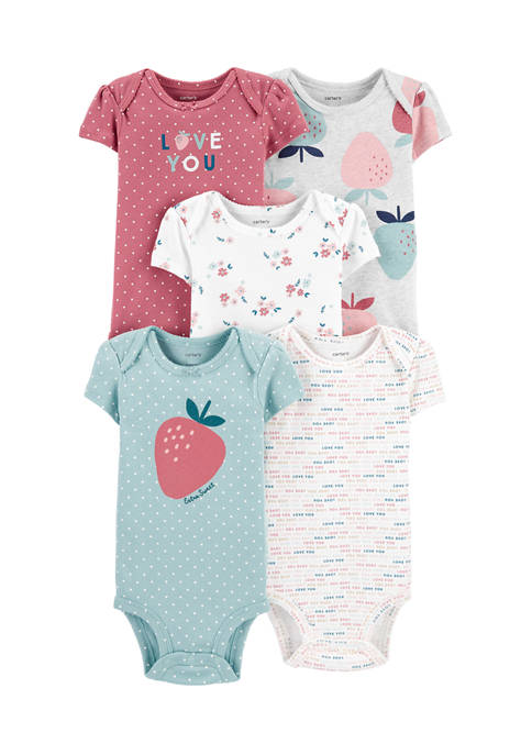 Baby Girls 5 Pack Strawberry Original Bodysuits