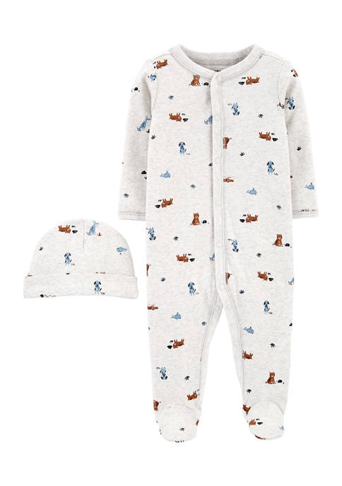 Carter's® Baby Boys Footie Pajamas and Hat Set