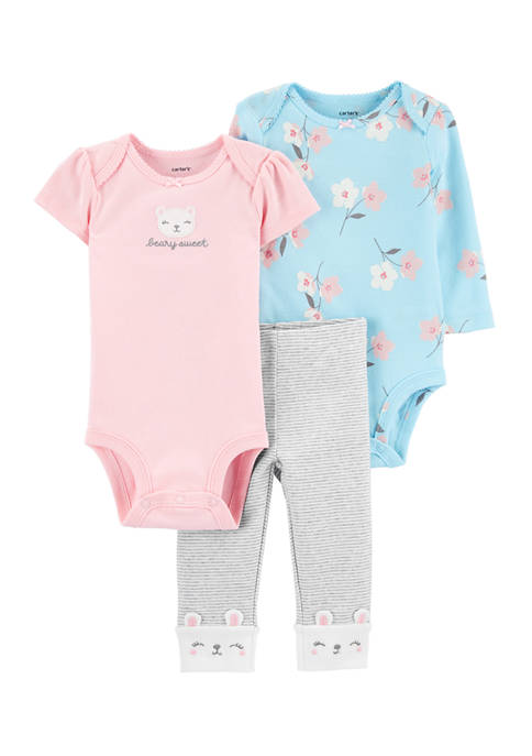 Carter's® Baby Girls 3 Piece Bear Little Character