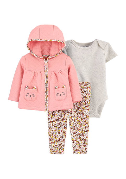 Carter's® Baby Girls 3-Piece Quilted Little Cardigan Set